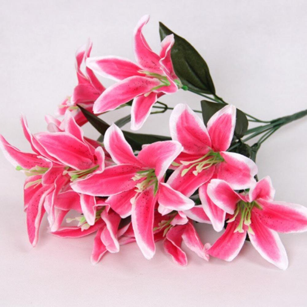 Details about  /10 Heads Artificial Lily Silk Flowers Bunch Bouquet Wedding Party Home Decor
