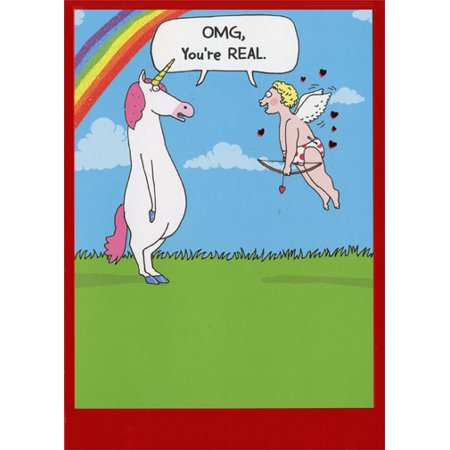 Recycled Paper Greetings Cupid Meets Unicorn Funny Valentine's Day Card - Unicorn Valentine