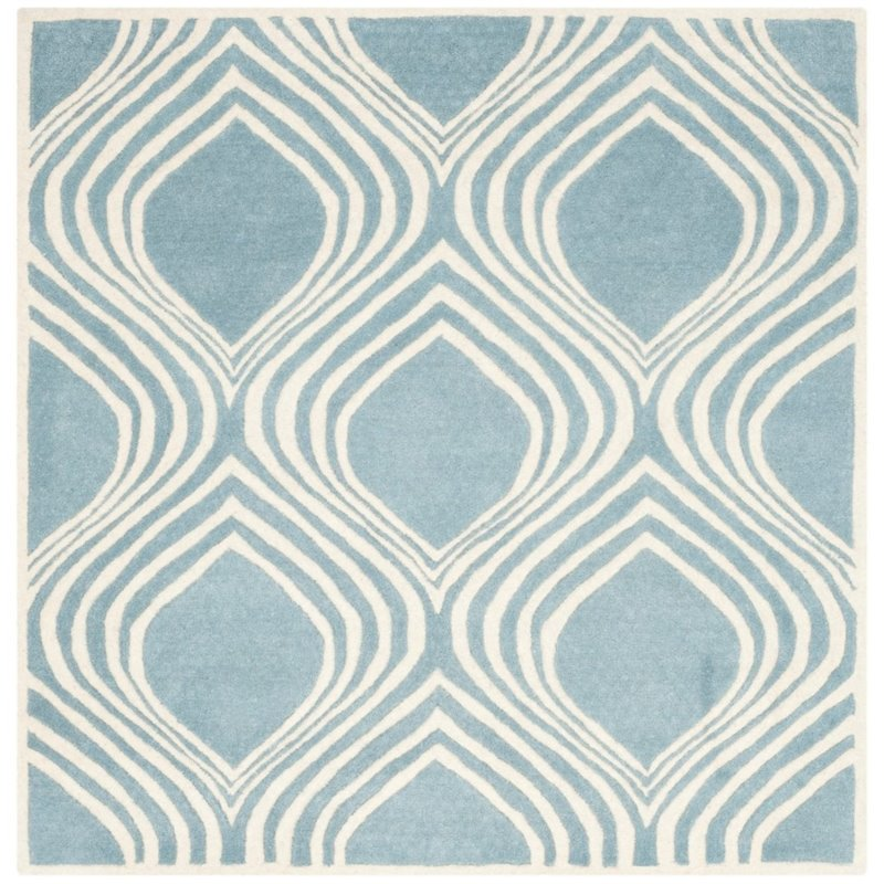 """Safavieh Chatham 2'3"""" X 7' Hand Tufted Wool Rug in Blue and Ivory - image 2 of 9"""