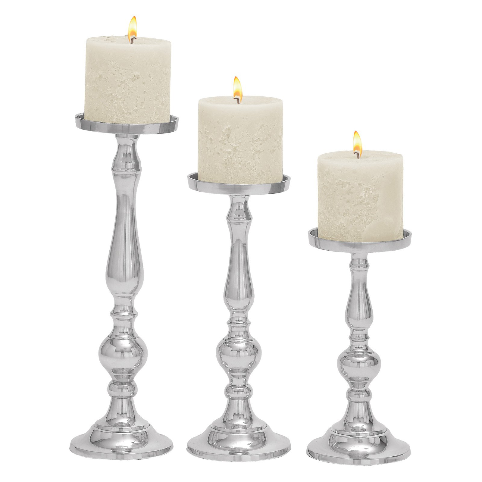 Decmode Aluminum Candle Holder, Set of 3, Silver by DecMode