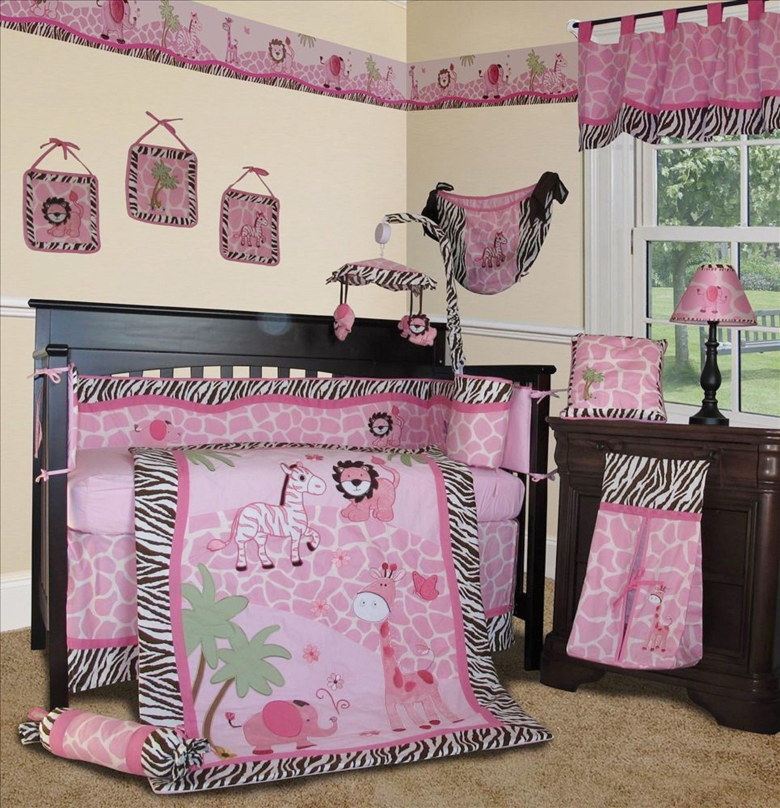 Pink Safari Crib Nursery Bedding Set