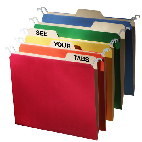 Tab View Letter Hanging File Folder, Assorted