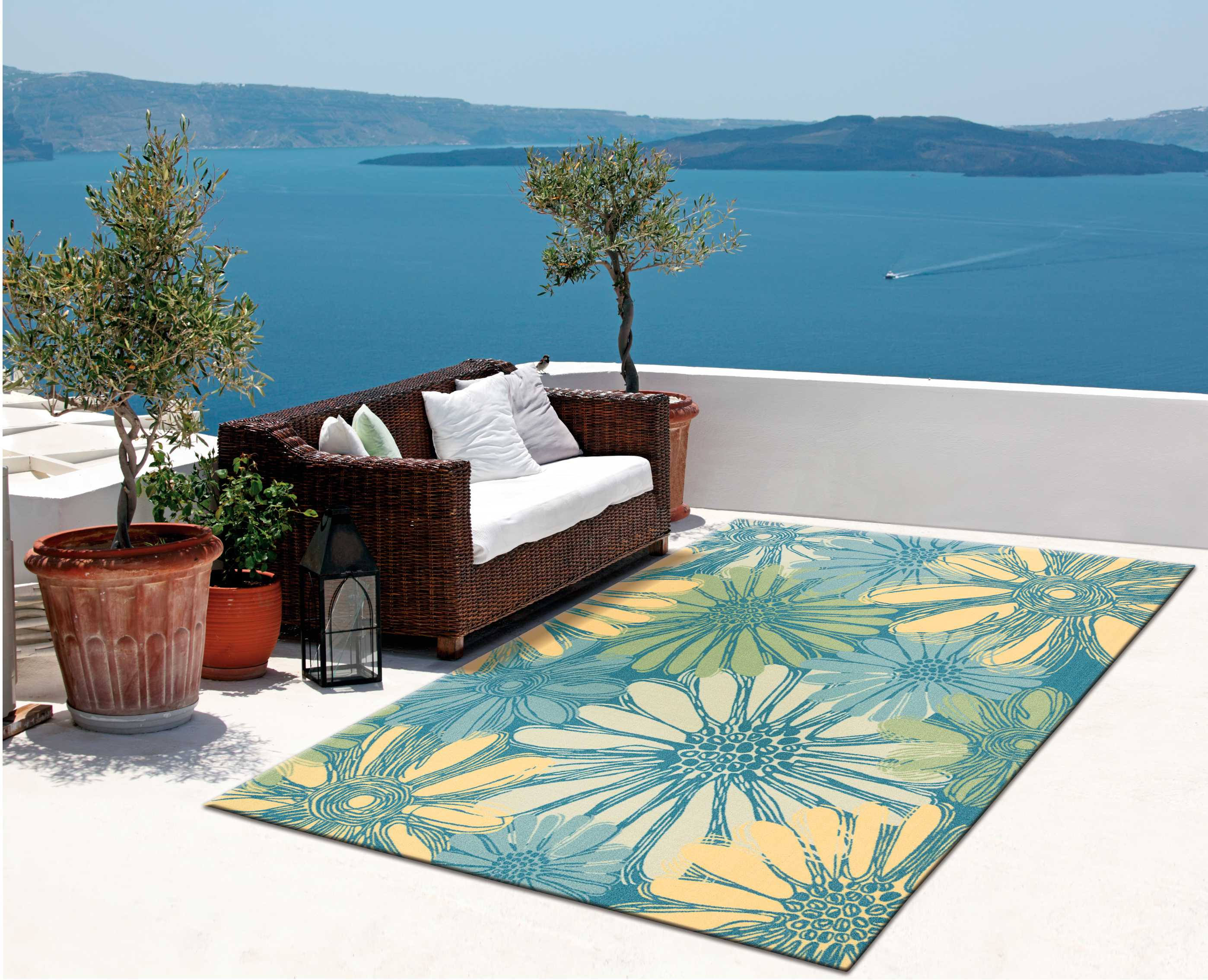 Home and Garden Machine Printed Polyester Area Rug by Nourison, Blue by Nourison