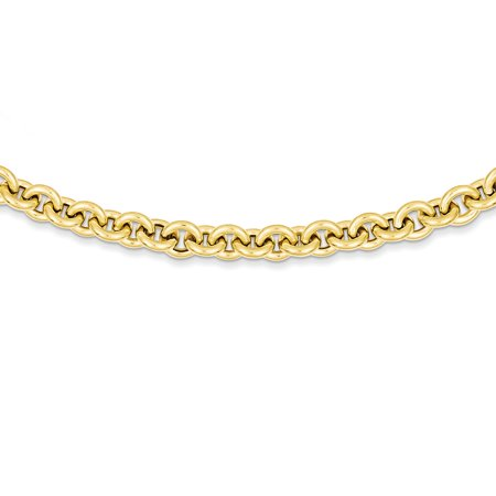 14K Yellow Gold 7.25 MM Polished Fancy Rolo Link Necklace, 18""