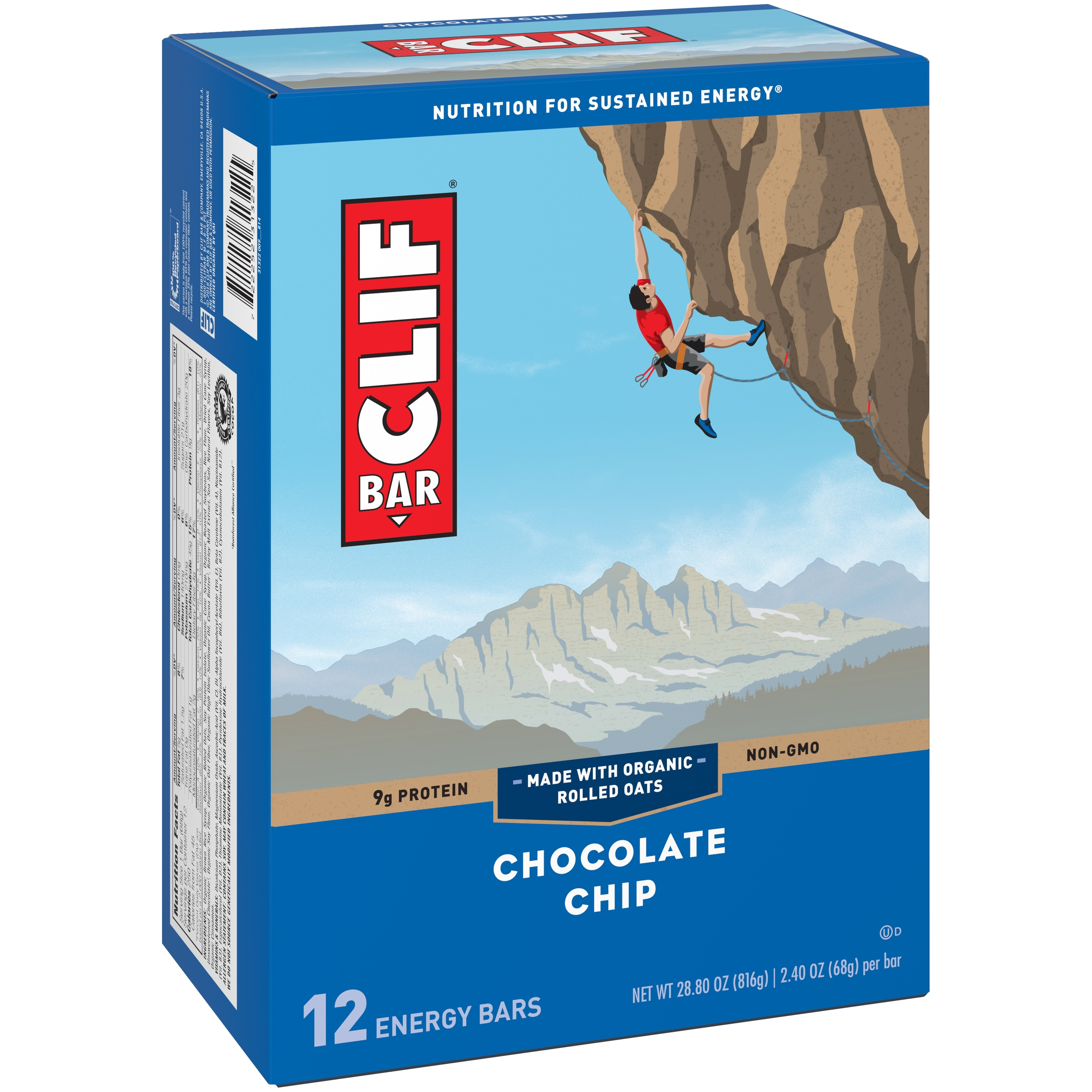 Clif Energy Bar, Chocolate Chip, 9g Protein, 12 Ct