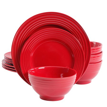 Plaza Cafe 12 pc Dinnerware Set - Red - Solid Color - Stoneware