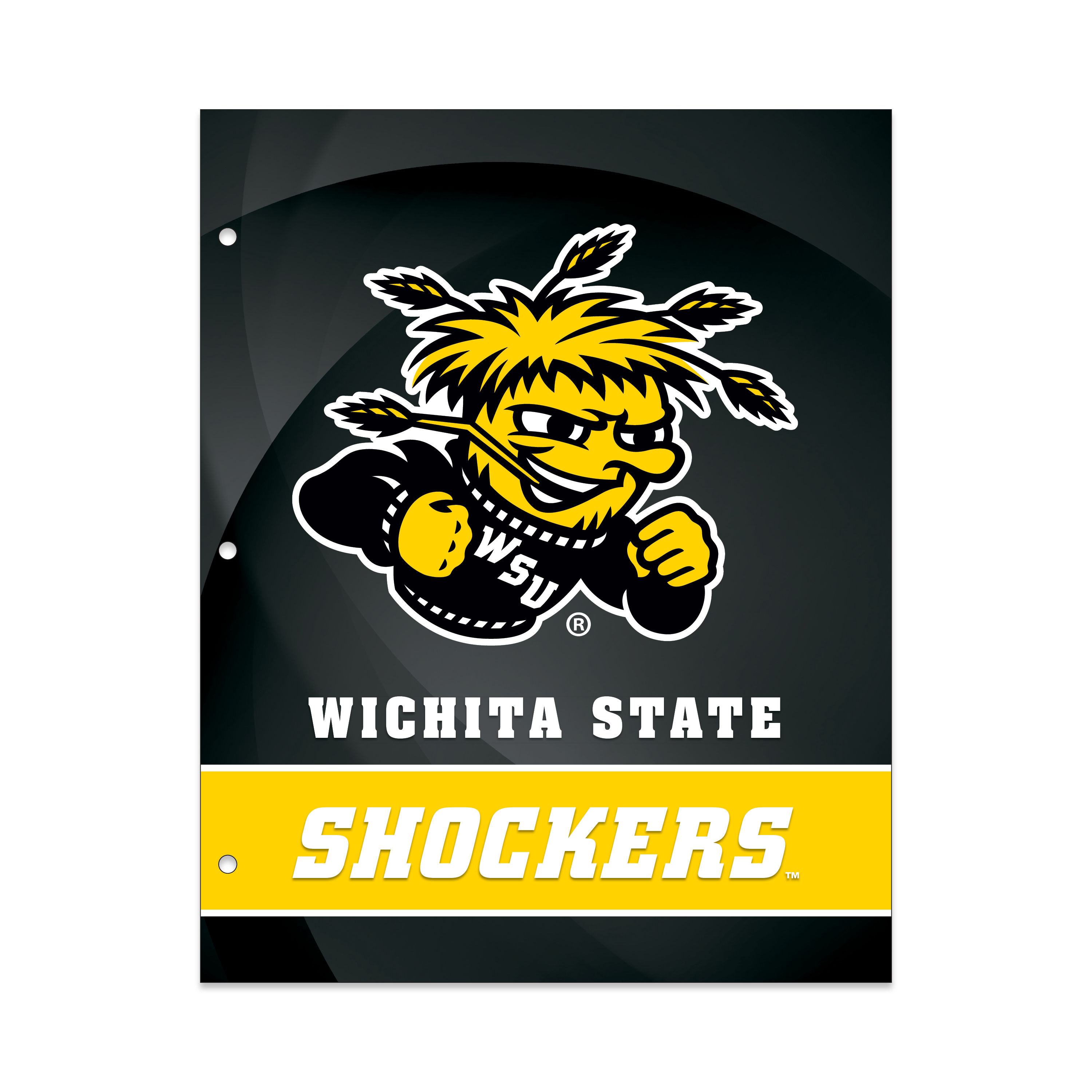 NCAA Wichita State Shockers 2 Pocket Portfolio, Three Hole Punched, Fits Letter Size