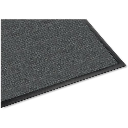 "Genuine Joe Waterguard Mat - 72"" Length x 48"" Width - Rubber, Polypropylene - Charcoal Gray"