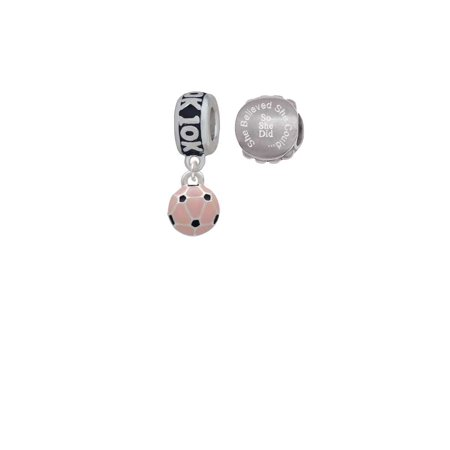 Silvertone Mini Pink Soccer ball 10K Run She Believed She Could Charm Beads (Set of - Soccer Ball 10k Charm