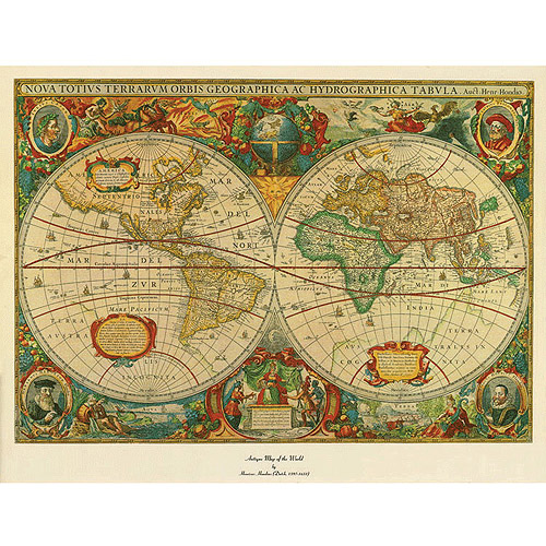 "Trademark Fine Art ""Old World Map Painting"" Canvas Art"