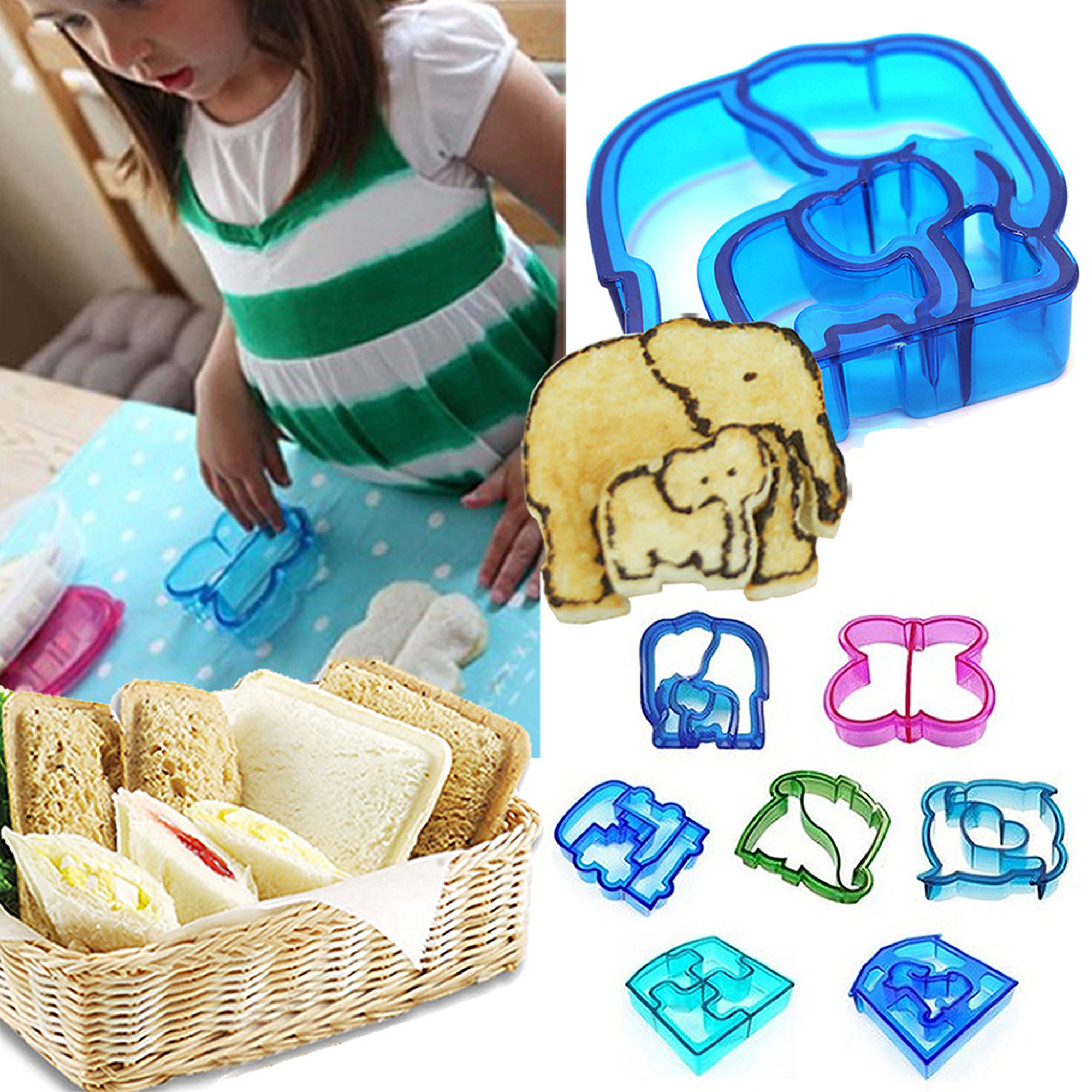CUH Sandwich Cutters Cookie Baking Cake Biscuit Moulds Dolphin Dinosaur Animal Molds for Kids Lunch