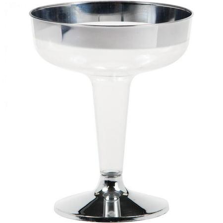 Creative Converting Silver Rimmed 4.5 Oz Plastic Champagne Glasses, 8 ct