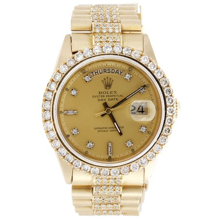 969218452c4 Rolex - 18K Yellow Gold Mens Rolex Presidential Prong Diamond Day-Date 36mm  Watch 8 CT. - Walmart.com