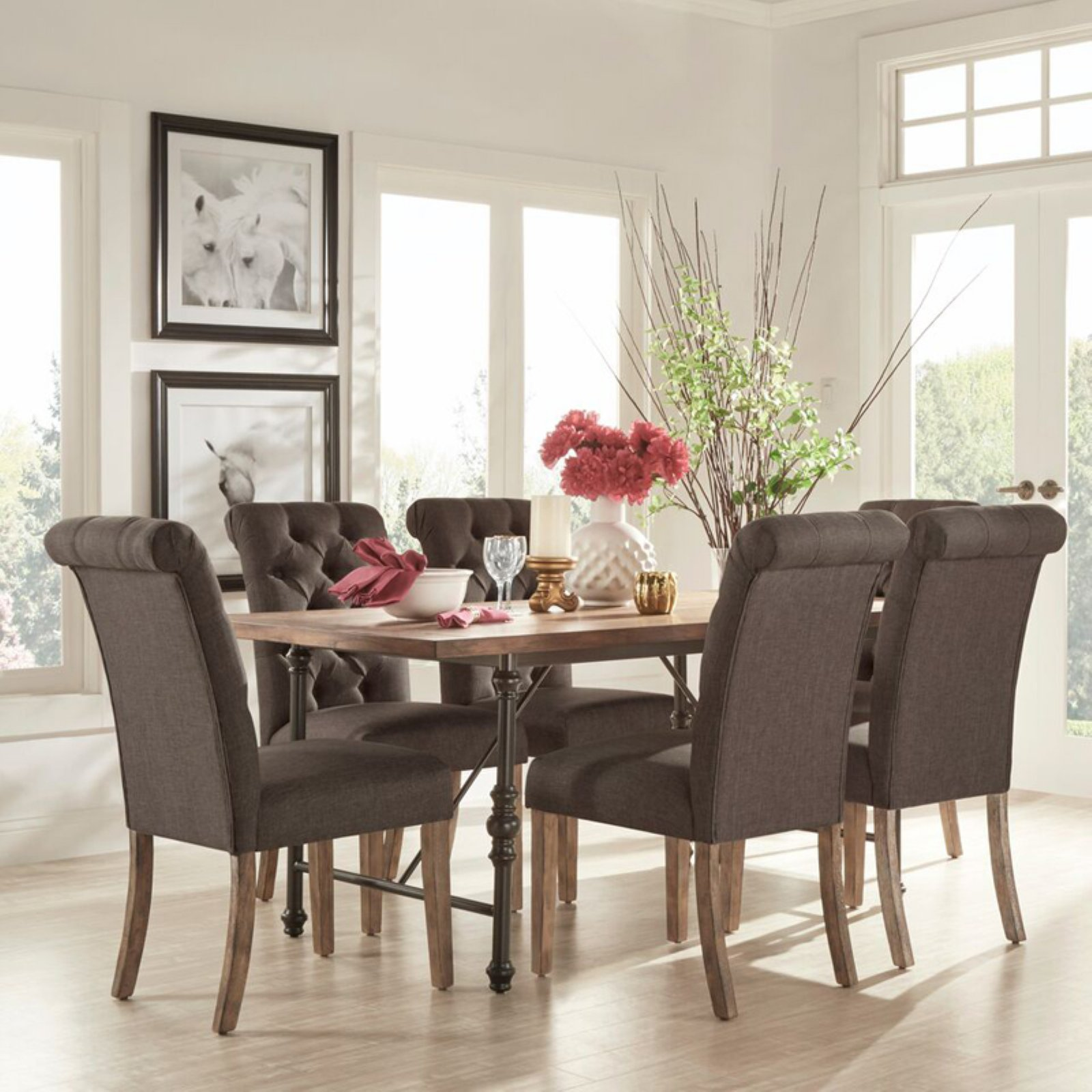 Weston Home 7 Piece Industrial Dining Set with Dark Gray Tufted Chairs