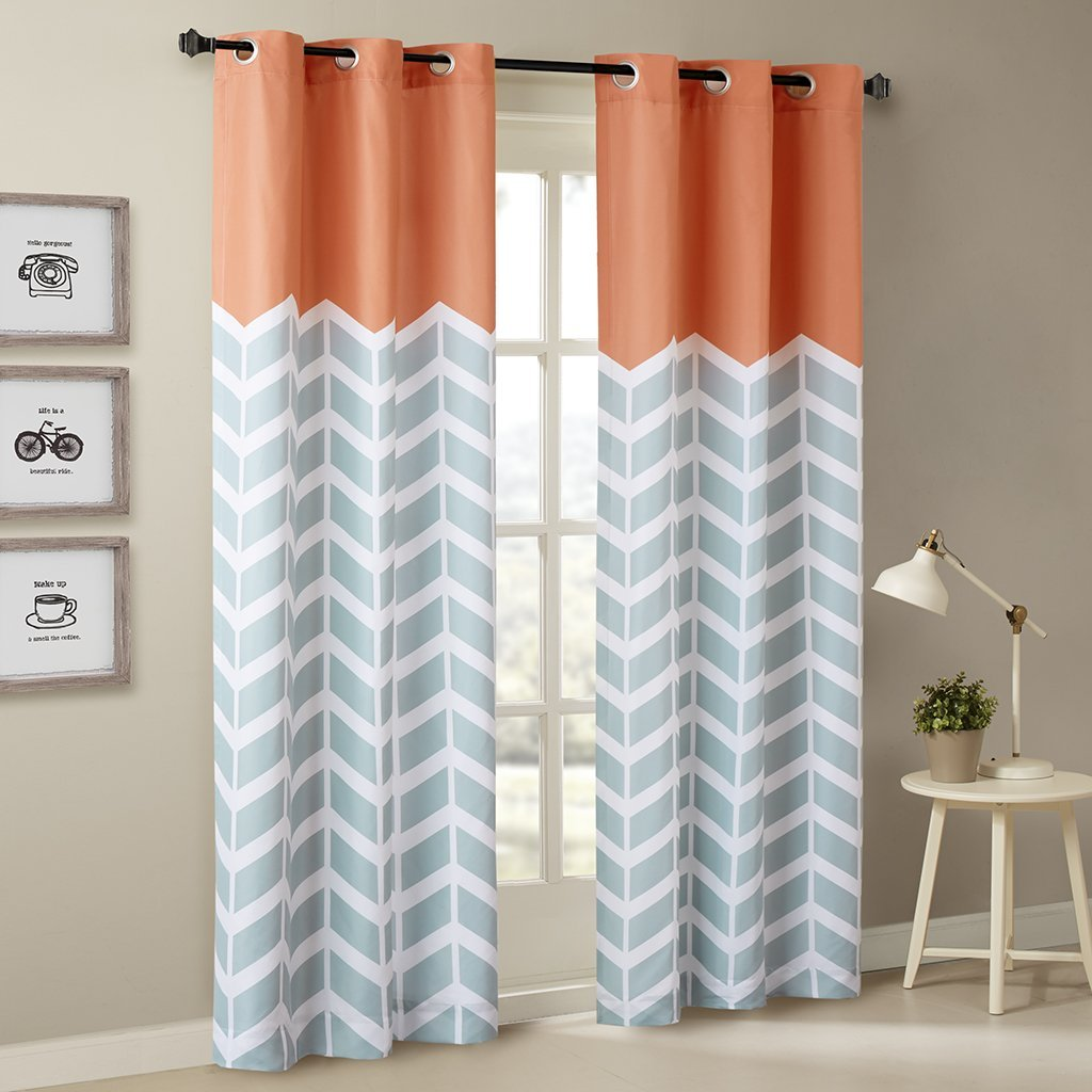 "Alex Chevron Printed Grommet Top Panel Pair Orange 84"" Panel By Intelligent Design Ship from US"