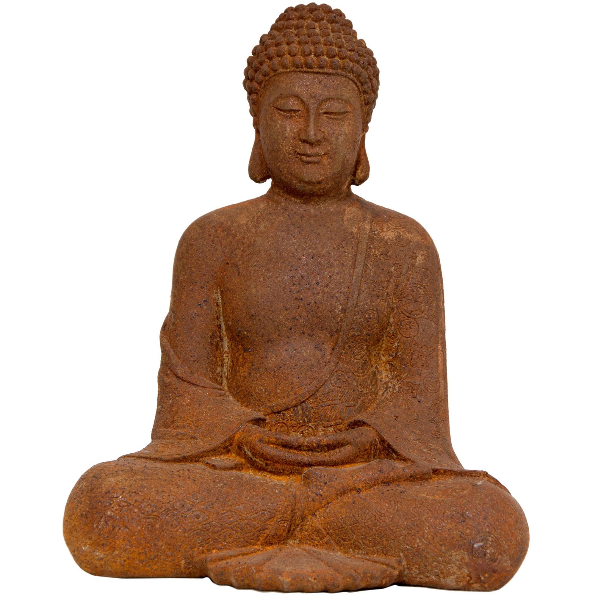"12"" Japanese Sitting Zenjo-in Rust Patina Buddha Statue"