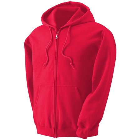 Mens Full Zip up hoodie Fleece Zipper Heavyweight Hooded Jacket Sweatshirt - Red Zipper Jacket