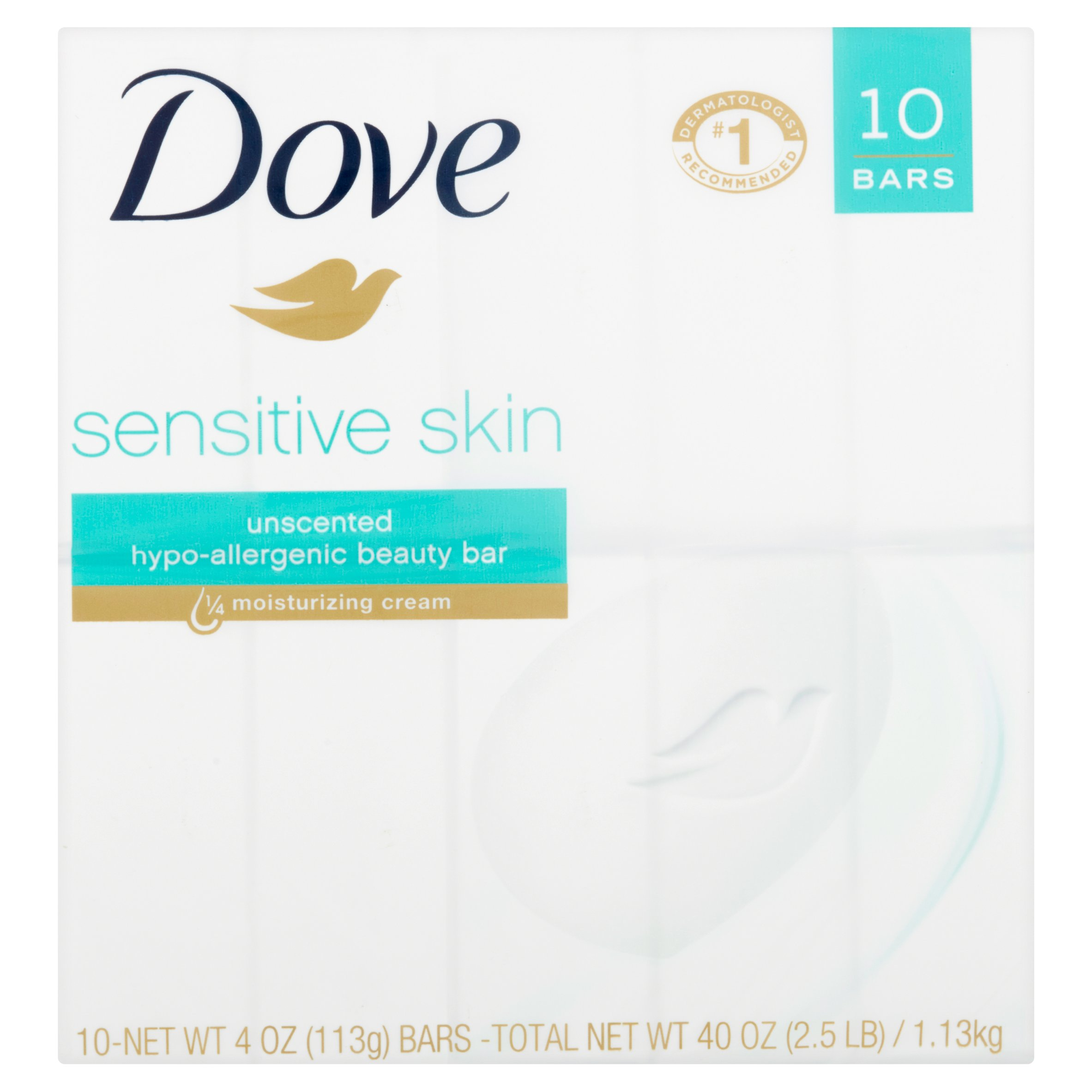 Dove Sensitive Skin Unscented Hypo-Allergenic Beauty Bar, 4 oz, 10 count - Walmart.com