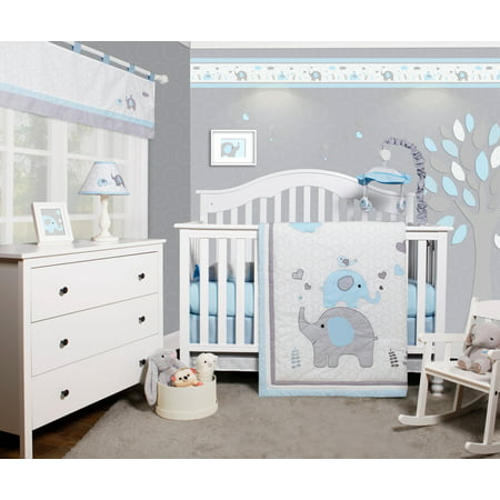OptimaBaby Blue Grey Elephant 6 Piece Baby Nursery Crib Bedding (Baby Cribs Set)