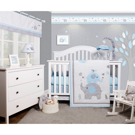 Nursery Bedding Accessories (OptimaBaby Blue Grey Elephant 6 Piece Baby Nursery Crib Bedding Set)