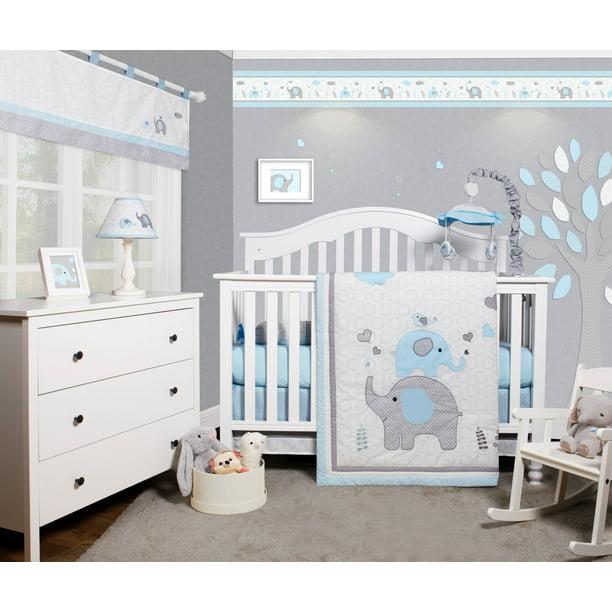 Optimababy Blue Grey Elephant 6 Piece, Blue Deer Head Baby Bedding