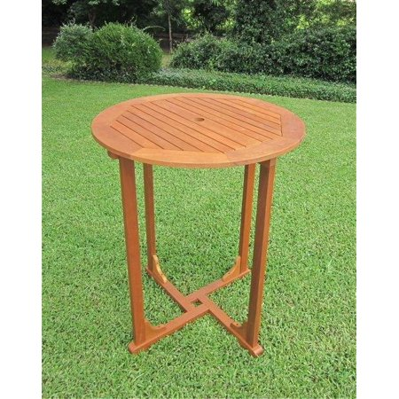 Counter Height Picnic Table : Balau Bar-Height Round Patio Table - Walmart.com