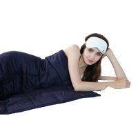 "40""x60"" Home Bed Soft Breathable Blue Minky Weighted Sensory Blanket 10-20lb"