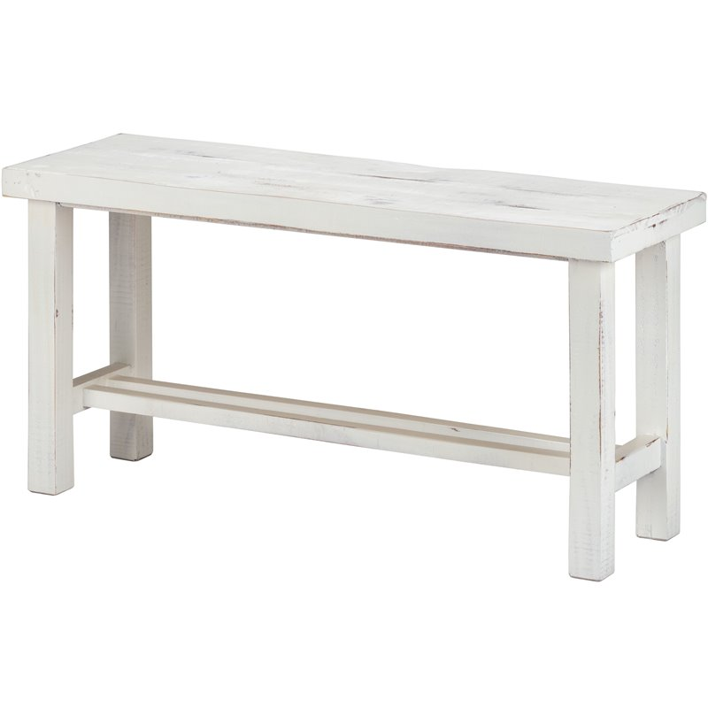 Luxury Living Solid Wood 36-Inch Wide Loft Medium Bench in White