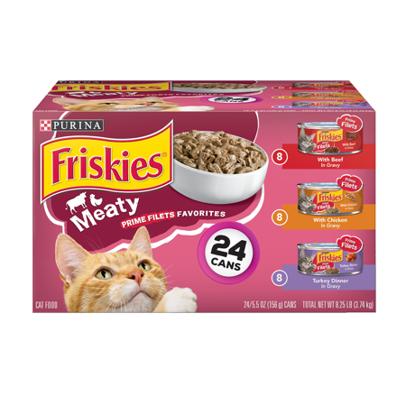 Friskies Gravy Wet Cat Food Variety Pack, Prime Filets Meaty Favorites - (24) 5.5 oz. Cans