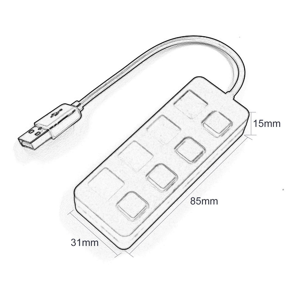4 Ports Usb 2 0 Hub With Independent Onoff Switch Slim Compact Usb