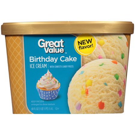 Great Value Birthday Cake Ice Cream 48 Fl Oz