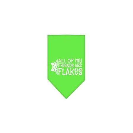 All my friends are Flakes Screen Print Bandana Lime Green Large - Green Bandanna