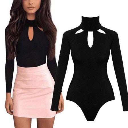 - Women Long Sleeve Stretch Bodycon Bodysuit Jumpsuit Tops Casual Leotard Plain Shirt