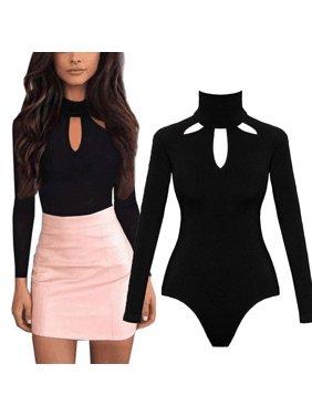 dc67a416973 Product Image Women Long Sleeve Stretch Bodycon Bodysuit Jumpsuit Tops  Casual Leotard Plain Shirt