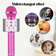 Bluetooth Wireless Karaoke Microphone, Portable Bluetooth Karaoke Player with Speaker for Home KTV Outdoor Party Music Playing & Singing(Pink)