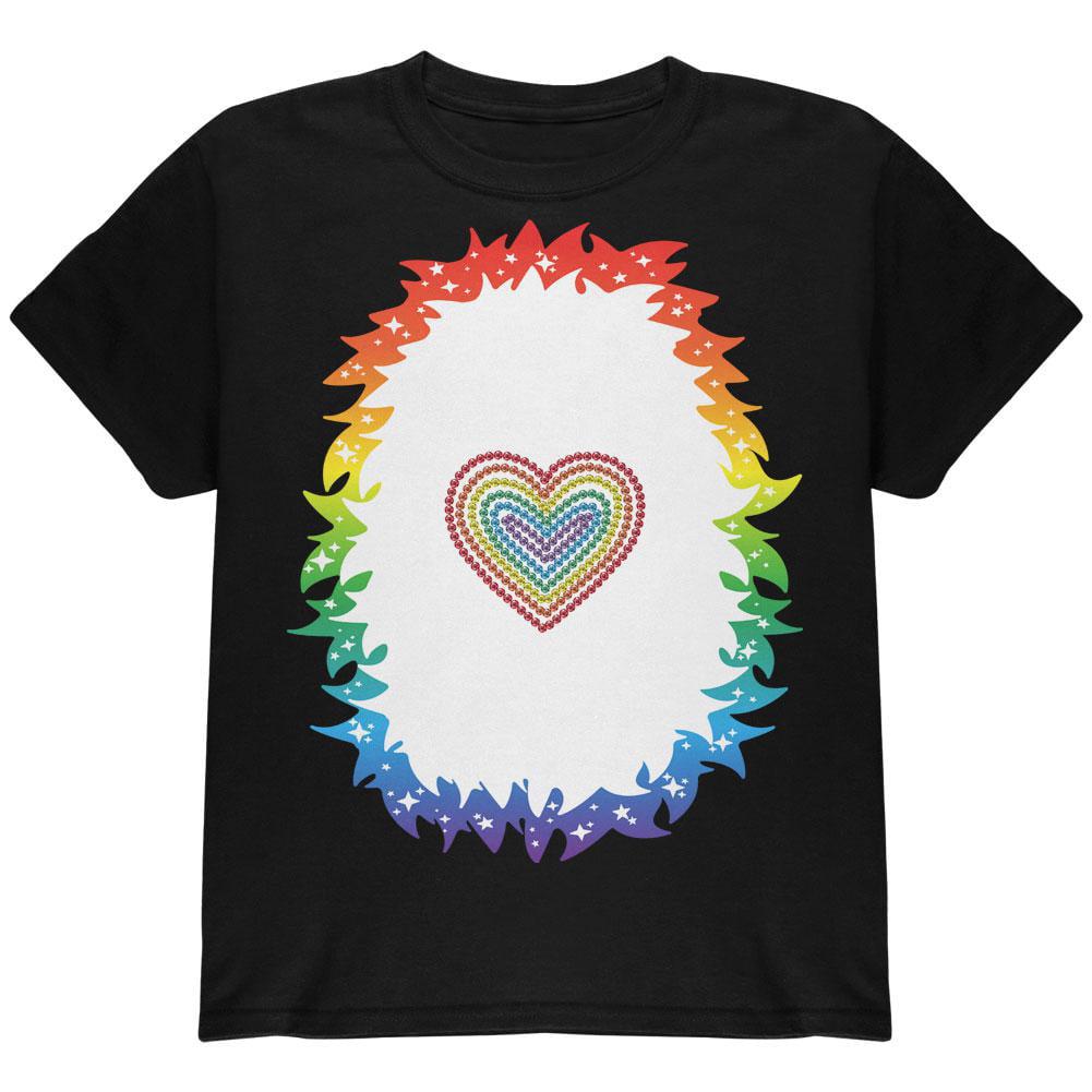 Halloween Rainbow Heart Unicorn Costume Pony Youth T Shirt
