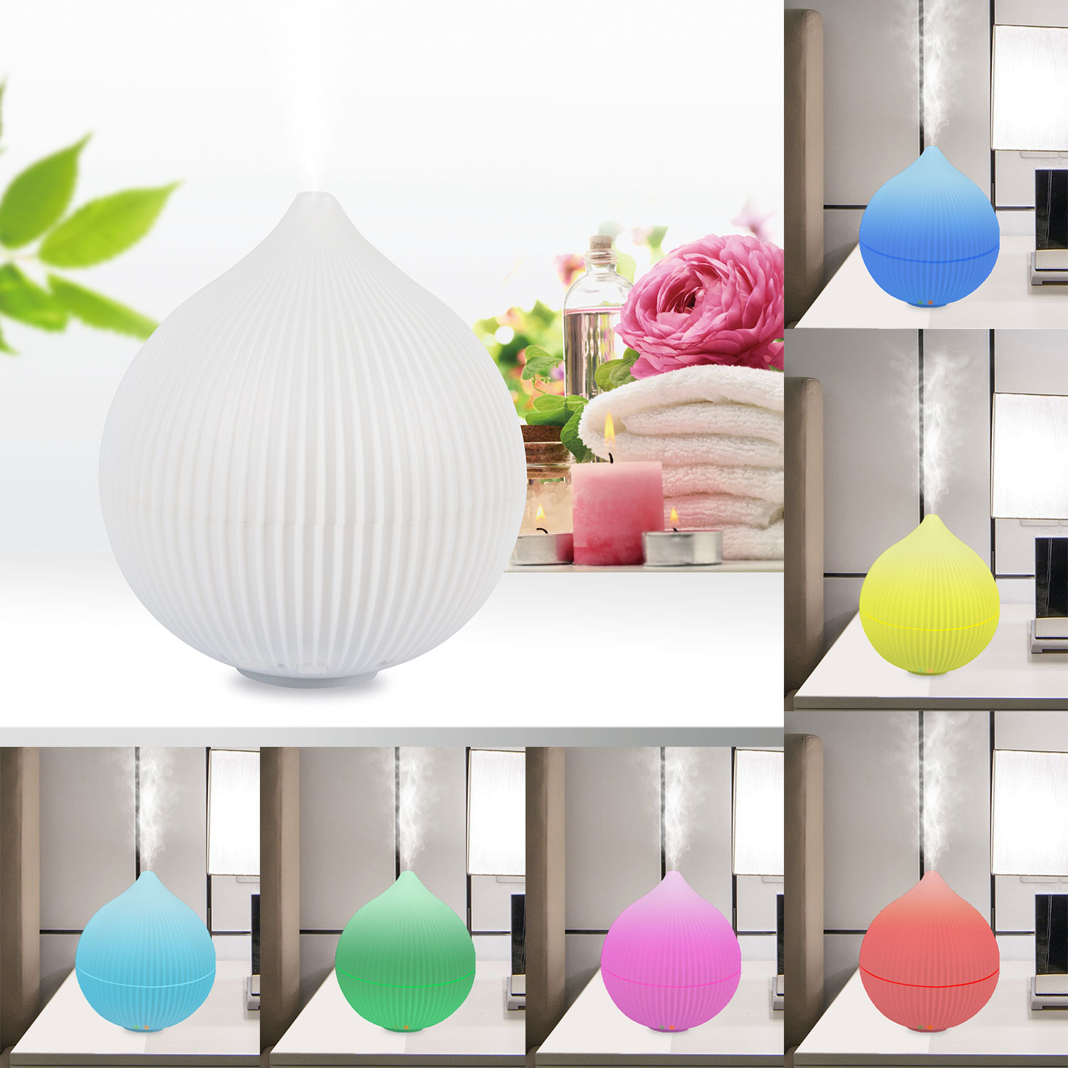 iMounTEK Onion Shape 7 LED Different Colors/330 ML Ultrasonic Aromatherapy Essential Oil [Air Diffuser/Aroma Humidifier] Auto-Shut OFF-Baby/Kids/Bedroom/Office/Car/Spa/Yoga Cool Mist Ionizer/Purifier