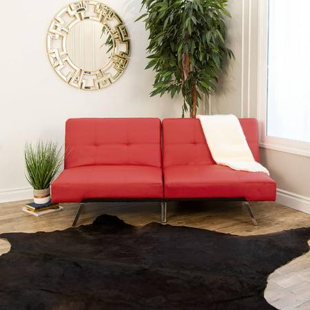 Devon & Claire Austin Leather Futon Sofa Bed, Red