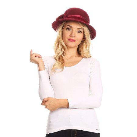 Sakkas Tessa Wool Cloche Flapper Gatsby Hat with Satin Ribbon Adjustable - Burgundy - One Size Regular (Flappers Hats)