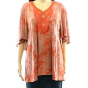 One World NEW Red Roma Studded Embroidered Women's  Large L Flutter Knit Top