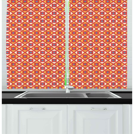 Kids Curtains 2 Panels Set, Checked Pattern with Dots in Squares Diagonal Geometrical Retro Style, Window Drapes for Living Room Bedroom, 55W X 39L Inches, Marigold Scarlet Sky Blue, by Ambesonne ()