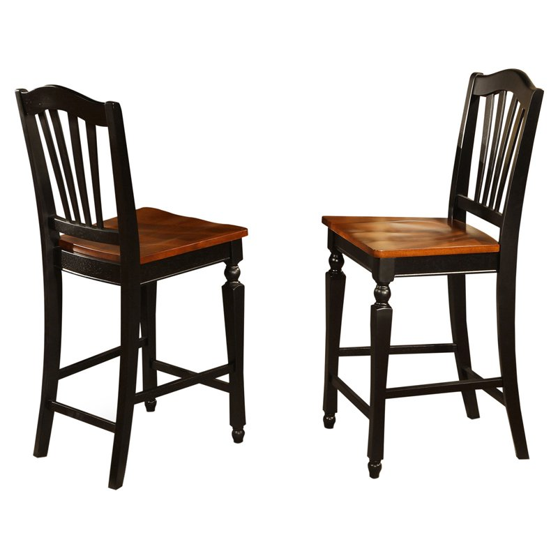 east west furniture chelsea counter height dining chair with wooden seat set of 2