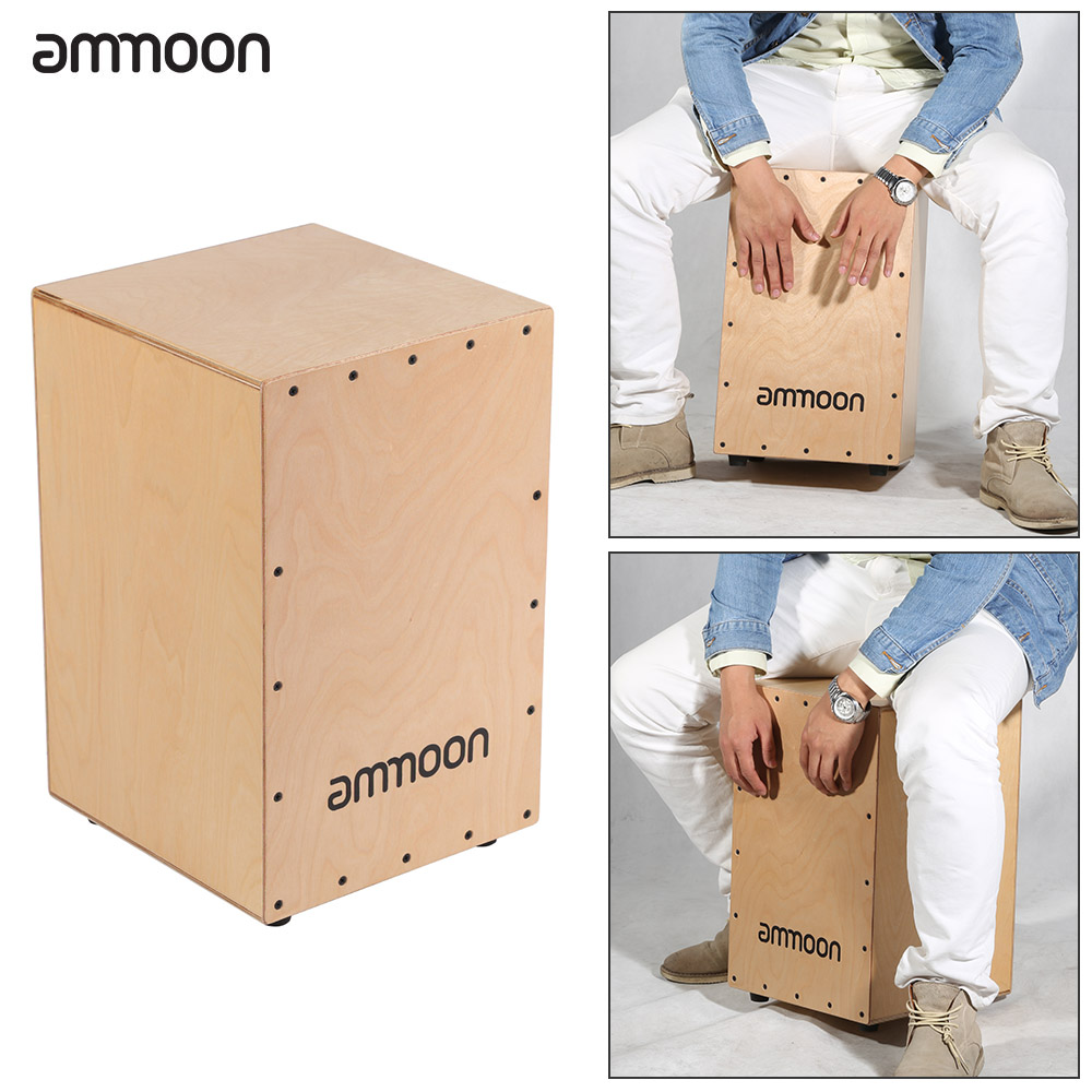 ammoon Wooden Drum Box Cajon Hand Drum Persussion Instrument with Stings Rubber Feet 30 *... by