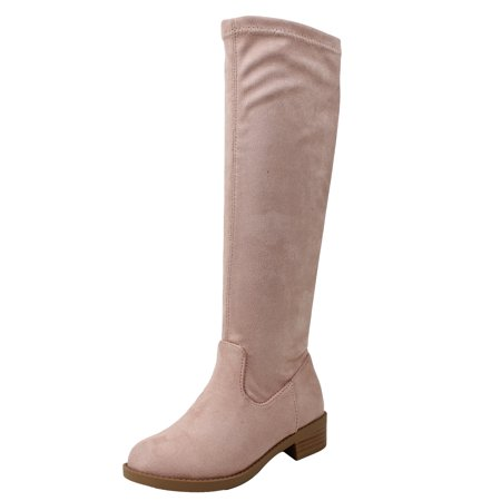 Soda Girl's Closed Toe Faux Suede Knee High Low Heel Girl Boots (Mauve, 12 M US Little Kid)