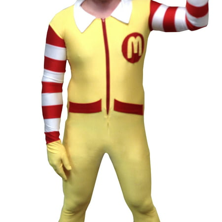 Saw Clown Costume (Ronald McDonald Adult Costume Body Suit McDonald's Clown Mens Spandex)