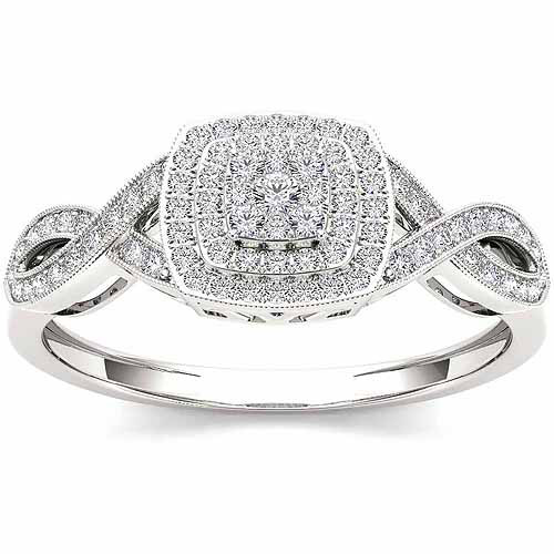 Imperial 1/4 Carat T.W. Diamond Cluster 10kt White Gold Engagement Ring