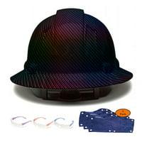 Full Brim Pyramex Hard Hat, Rainbow Carbon Fiber Design Safety Helmet 6pt + 3pk Blue Hard Hat Sweatband + 3 Pairs Safety Glasses, by AcerPal