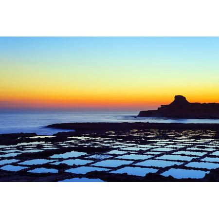Mediterranean Europe, Malta, Gozo Island, Salt Pans at Sunrise, Xwejni Bay Print Wall Art By Christian Kober
