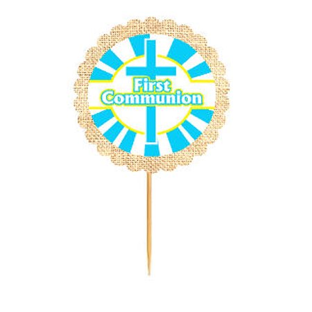 First Communion Cupcake (First Communion Blue  Rustic Burlap Cupcake Decoration Topper Food)