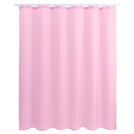 Solid Color Polyester Fabric Shower Curtain With Hooks Pink 72 X Inch